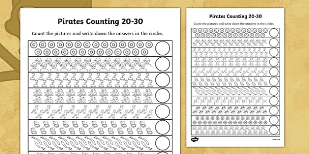 Pirates Counting 20-30 - pirates, counting, 20-30, count, numbers