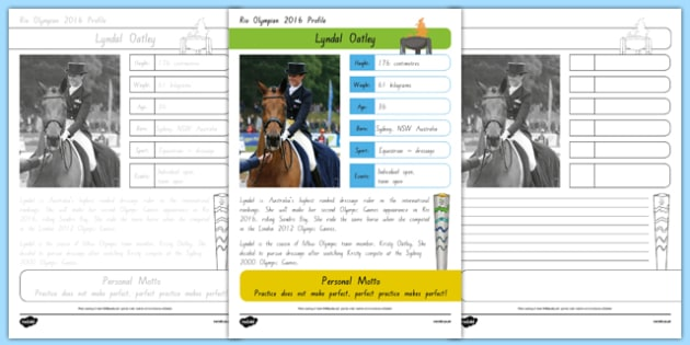 Australian Rio Olympian Lyndal Oatley Handwriting Practice Activity Sheet, worksheet