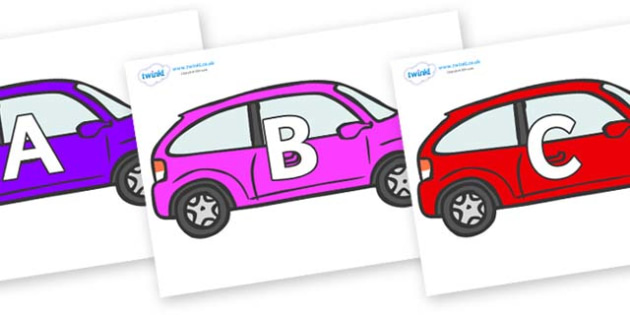 A-Z Alphabet on Cars - A-Z, A4, display, Alphabet frieze, Display letters, Letter posters, A-Z letters, Alphabet flashcards