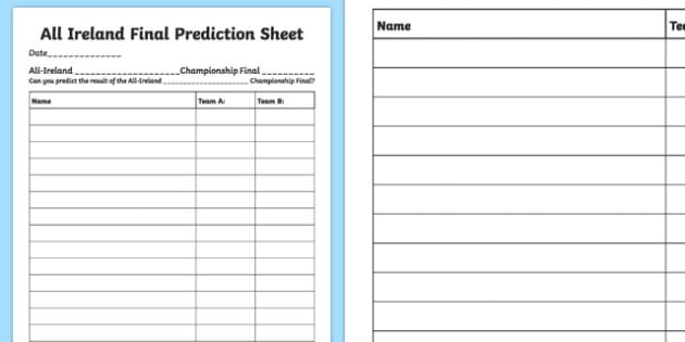 All Ireland Championship Final Prediction Activity Sheet-Irish, worksheet