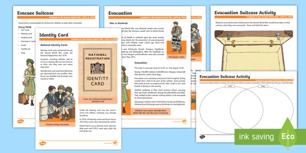 Scotland in the Second World War Evacuation Fact Files and Activity Sheets - Scotland in World War II, evacuation
