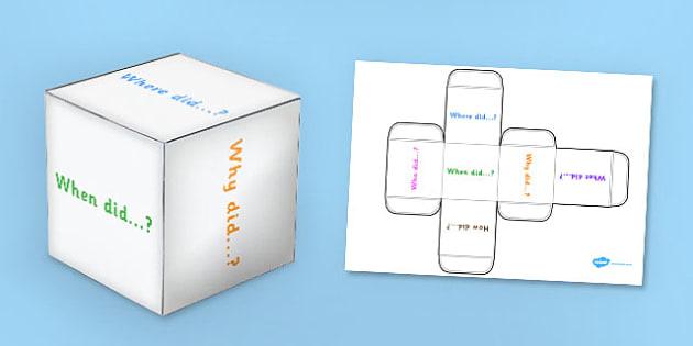 Past Tense Questions Dice Net - question words, past questions, dice, games