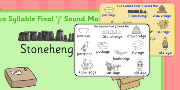 Two Syllable Final 'J' Sound Word Mat 2 - final j, sound, word mat