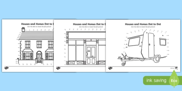 Houses and Homes Counting in 5s Dot-to-Dot Activity Sheet Pack, worksheet