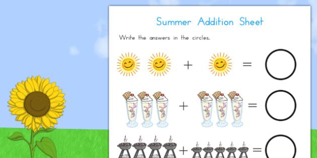 Summer Addition Sheet - summer, addition, add, maths, numeracy