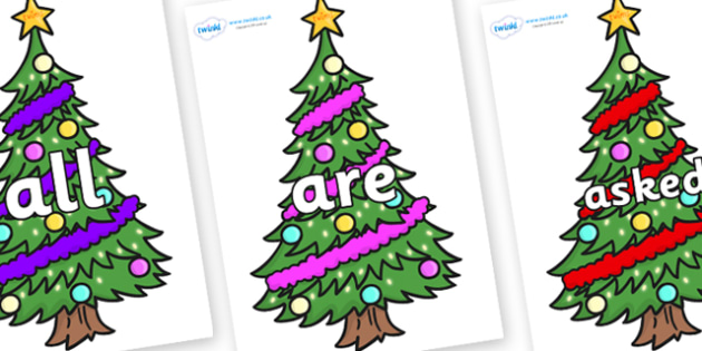 Tricky Words on Christmas Trees (Decorated) - Tricky words, DfES Letters and Sounds, Letters and sounds, display, words