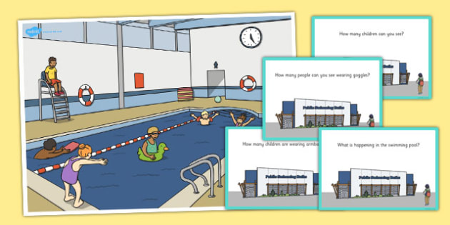 Swimming Pool Scene and Question Cards - question, cards, scene