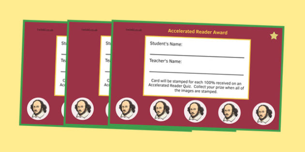 Incentive 5 Stamp Cards Shakespeare to Support the Teaching on Accelerated Reader - English, KS 3, KS 2, Reading, Accelerated Reader, Accelerated Reading, Incentive, Reward Card