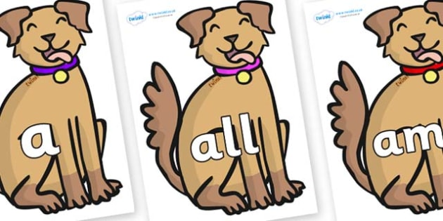 Foundation Stage 2 Keywords on Dogs - FS2, CLL, keywords, Communication language and literacy,  Display, Key words, high frequency words, foundation stage literacy, DfES Letters and Sounds, Letters and Sounds, spelling