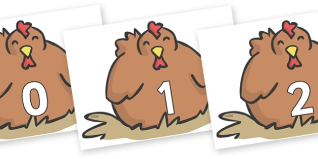 Numbers 0-31 on Chickens - 0-31, foundation stage numeracy, Number recognition, Number flashcards, counting, number frieze, Display numbers, number posters