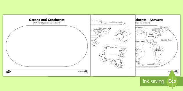Ocean and Continents Cut and Stick Activity - KS1 Geography, continents, oceans, paper plate, cut and stick, world.,Australia, map
