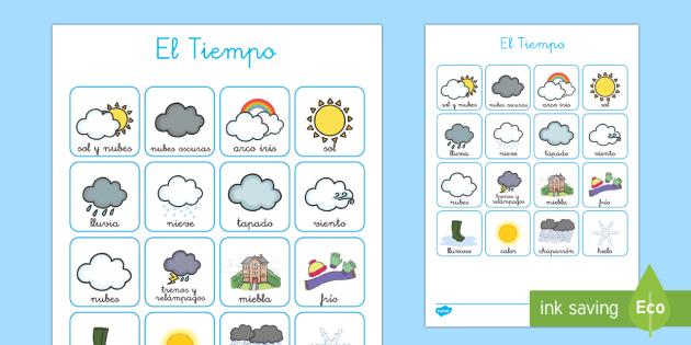 Tarjetas de emparejar: El tiempo - El tiempo y las estaciones del año, proyecto, vocabulario, decoración, mural, exposición, tiempo,