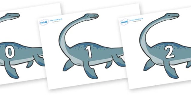 Numbers 0-100 on Plesiosaur - 0-100, foundation stage numeracy, Number recognition, Number flashcards, counting, number frieze, Display numbers, number posters