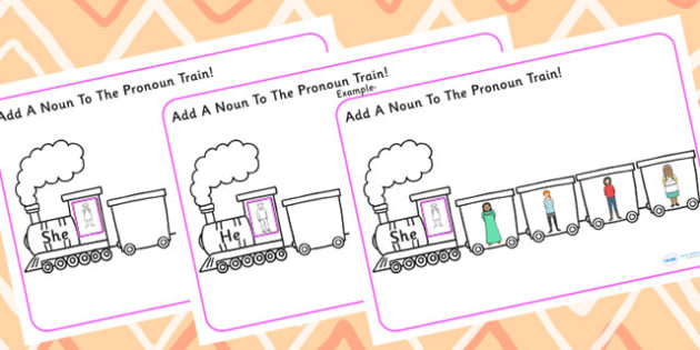 Add A Noun To The Pronoun Train - SEN, pronouns, transport, nouns