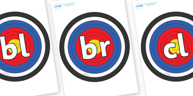Initial Letter Blends on Plain Targets - Initial Letters, initial letter, letter blend, letter blends, consonant, consonants, digraph, trigraph, literacy, alphabet, letters, foundation stage literacy