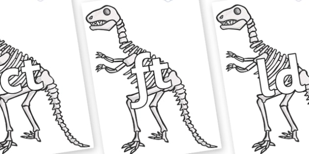 Final Letter Blends on Dinosaur Skeletons - Final Letters, final letter, letter blend, letter blends, consonant, consonants, digraph, trigraph, literacy, alphabet, letters, foundation stage literacy