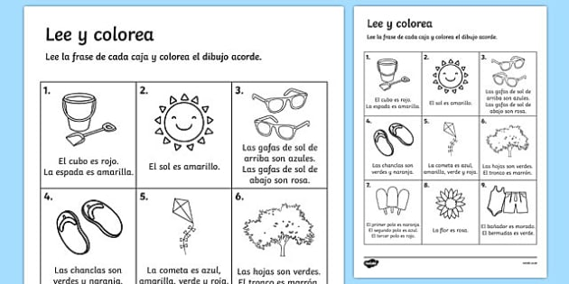 Lee y colorea Summer Read and Colour Activity Sheet Spanish - seasons, weather, reading, waether, WHEATHER, seaons, wetaher, weaher, summertime, Timw, worksheet