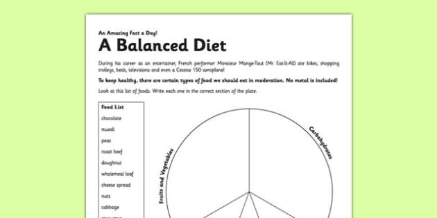 A Balanced Diet Activity Sheet - eat healthy, balanced diet, diet, activity, worksheet