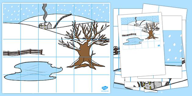 Winter Themed Bee Bot Mat - winter, themed, beebot, bee bot, bee-bot, mat