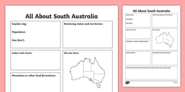 All About South Australia Research Activity Sheet - australia, Geography, research, questions, questioning, answers, South Australia, Adelaide, facts, states, territories, Australia, worksheet