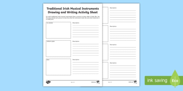 Traditional Irish Musical Instruments Drawing and Writing Activity Sheet-Irish