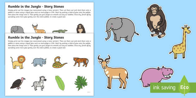 Rumble in the Jungle Story Stone Image Cut Outs - rumble in the jungle, story stone, image, cut outs