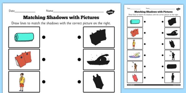 Swimming Pool Shadow Matching Worksheet - matching, shadow, pool