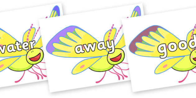 Next 200 Common Words on Yellow Butterfly to Support Teaching on The Crunching Munching Caterpillar - Next 200 Common Words on  - DfES Letters and Sounds, Letters and Sounds, Letters and sounds words, Common words, 200 common words