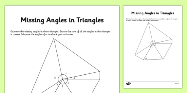 Calculating Missing Angles in Triangles calculating missing – Missing Angles in Triangles Worksheet