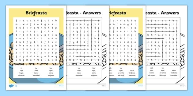 Irish Gaeilge Bricfeasta Word search - irish, gaeilge, word search, bricfeasta, bia