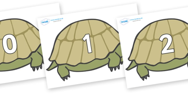 Numbers 0-50 on Tortoises - 0-50, foundation stage numeracy, Number recognition, Number flashcards, counting, number frieze, Display numbers, number posters