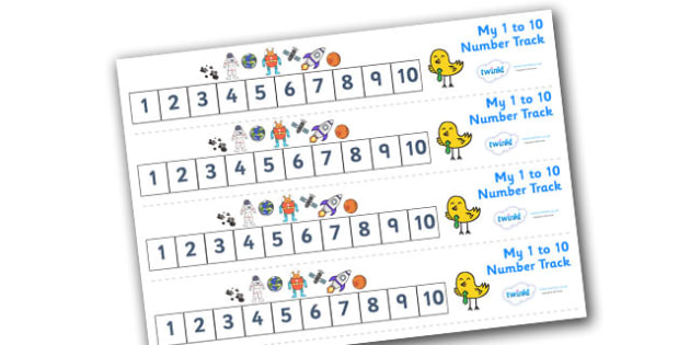 Numbers 1-10 Numbertrack (Space) - Maths, Math, number track, space, numbertrack, Counting, Numberline, Number line, Counting on, Counting back, moon, sun, earth, mars, ship, rocket, alien, launch, stars, planet, planets