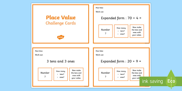 Place Value Maths Challenge Cards - place value, maths, numeracy