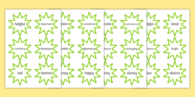 Adjective Cut Out Green Stars - adjectives, literacy, display