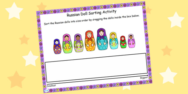 Russian Doll Size Ordering Activity for IWB - size, order, IWB
