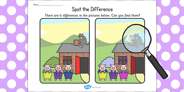 The Three Little Pigs Spot the Difference Activity - difference