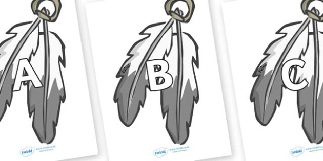 A-Z Alphabet on Feathers - A-Z, A4, display, Alphabet frieze, Display letters, Letter posters, A-Z letters, Alphabet flashcards