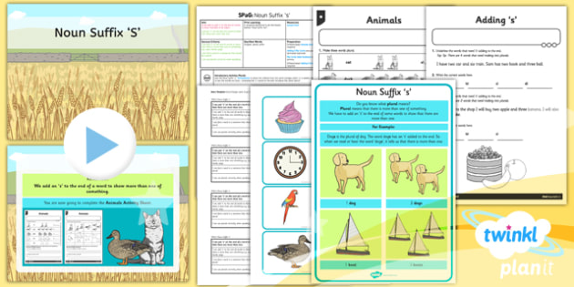 PlanIt Y1 SPaG Lesson Pack: Noun Suffix 's' - planit, spag, lesson, pack, noun, suffix