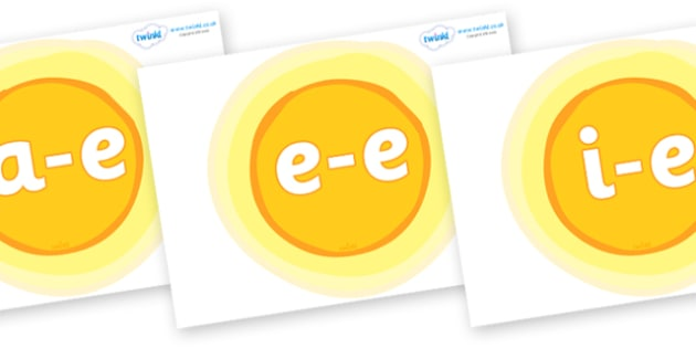 Modifying E Letters on Suns - Modifying E, letters, modify, Phase 5, Phase five, alternative spellings for phonemes, DfES letters and Sounds