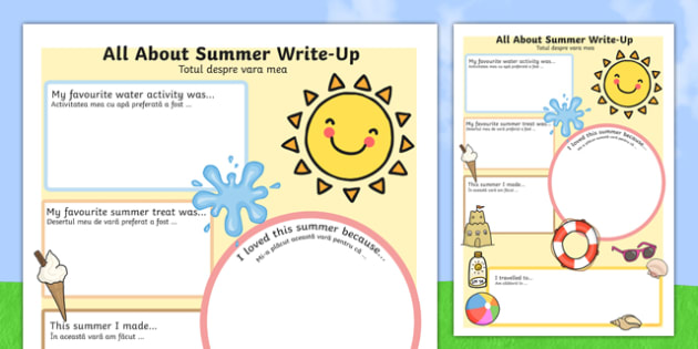 Summer Holiday Write-Up Activity Sheet Romanian Translation - seasons, holidays, terms, seaons, summertime, Timw