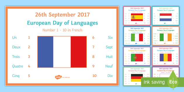 Numbers 1 10 in Different Languages Display Posters-French