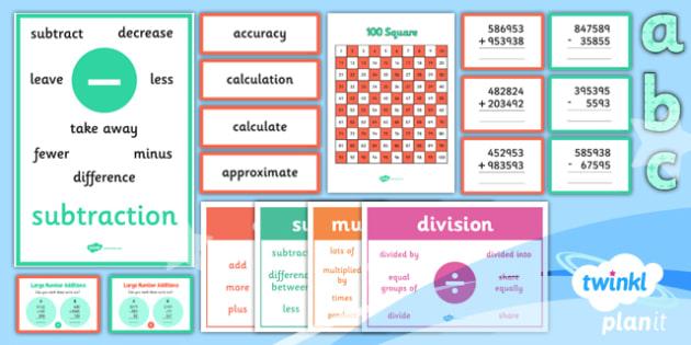 PlanIt Y5 Addition and Subtraction Display Pack - written methods, columnar addition, columnar subtraction, calculation methods