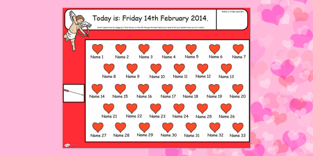 Valentine's Day Themed Self Registration Flipchart - valentine
