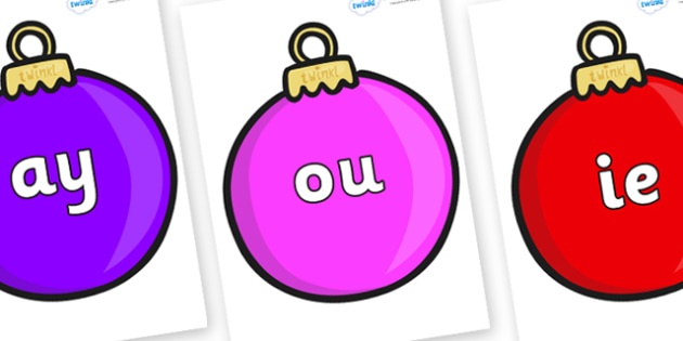 Phase 5 Phonemes on Baubles (Plain) - Phonemes, phoneme, Phase 5, Phase five, Foundation, Literacy, Letters and Sounds, DfES, display