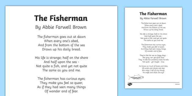 The Fisherman by Abbie Farwell Brown Poem Print-Out