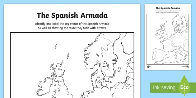ks2 the spanish armada map of europe activity sheet spanish. Black Bedroom Furniture Sets. Home Design Ideas