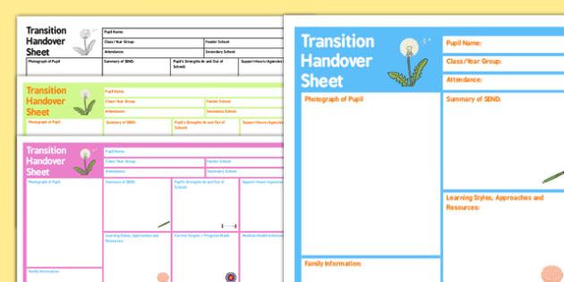 SEN Transition Handover Sheet - transition, handover, sheet, sen