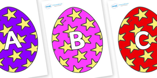 A-Z Alphabet on Easter Eggs (Stars) - A-Z, A4, display, Alphabet frieze, Display letters, Letter posters, A-Z letters, Alphabet flashcards