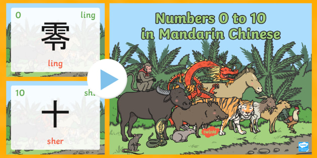 0 10  Numbers in Mandarin Chinese Pronunciation PowerPoint - Chinese New Year KS1. KS2, EYFS, Celebration, festivals, rooster, chinese numbers, numbers to 10
