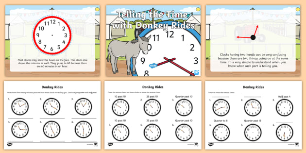 Telling the Time Minutes Past the Hour Higher and Lower Ability Powerpoint Task Setter - telling the time powerpoint, varied ability, minutes, hour, tasks